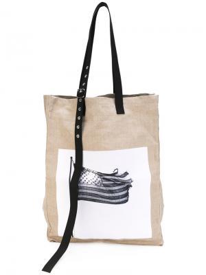 Крупная плетеная сумка-тоут Raf Simons. Цвет: телесный
