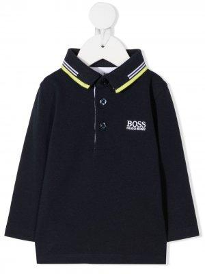 Рубашка поло с логотипом BOSS Kidswear. Цвет: синий