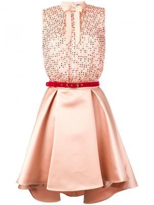 Короткое платье с пайетками Elisabetta Franchi. Цвет: нейтральные цвета