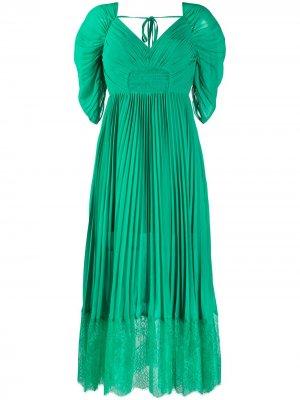 Платье мини с кружевной отделкой Self-Portrait. Цвет: зеленый