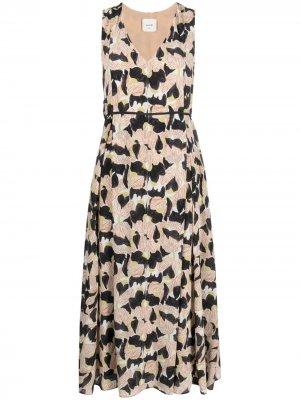 Плиссированное платье с цветочным принтом Alysi. Цвет: нейтральные цвета