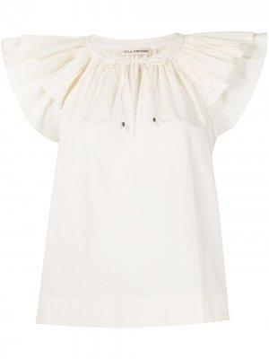 Блузка с короткими рукавами и оборками Ulla Johnson. Цвет: белый