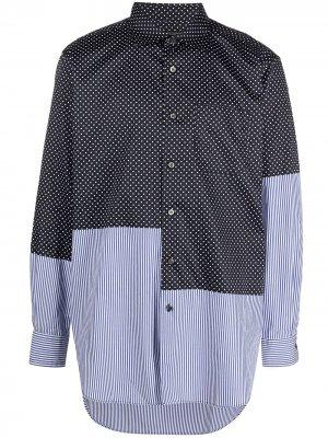 Рубашка в технике пэчворк Engineered Garments. Цвет: синий