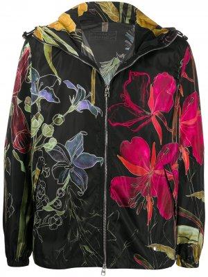 Куртка с капюшоном и цветочным принтом Alexander McQueen. Цвет: черный