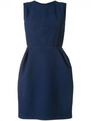 Платье без рукавов с декоративной строчкой Louis Vuitton. Цвет: синий