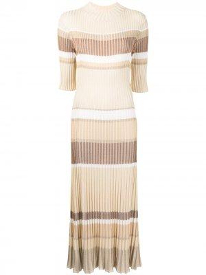 Полосатое платье в рубчик Proenza Schouler. Цвет: желтый