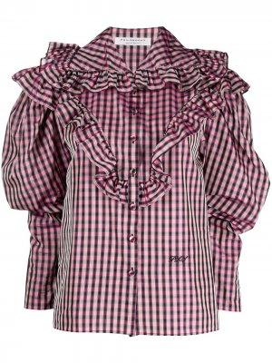 Клетчатая рубашка с пышными рукавами Philosophy Di Lorenzo Serafini. Цвет: розовый