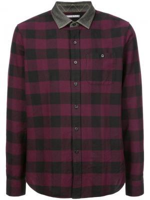 Рубашка в клетку с контрастным воротником Michael Bastian. Цвет: красный