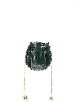 Маленькая сумка-тоут с кристаллами Rosantica. Цвет: зеленый