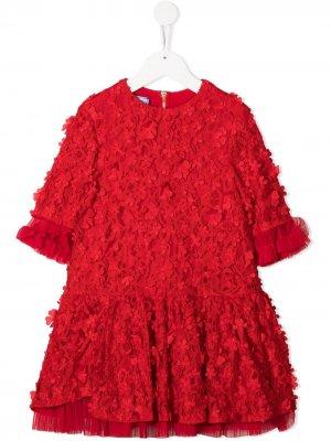Кружевное платье с цветочной аппликацией Mi Sol. Цвет: красный