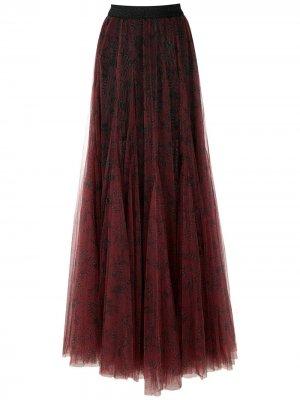Длинная юбка из тюля Eva. Цвет: красный