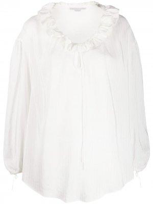 Блузка с оборками на воротнике Stella McCartney. Цвет: белый