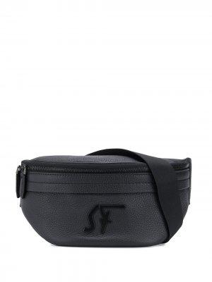Поясная сумка с логотипом Salvatore Ferragamo. Цвет: черный