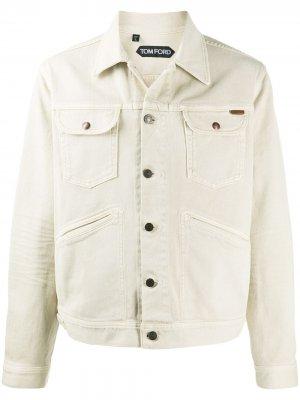 Джинсовая куртка на пуговицах Tom Ford. Цвет: нейтральные цвета
