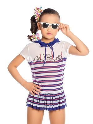 Туника для девочек Arina. Цвет: синий, белый