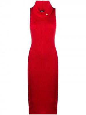 Платье в рубчик Balmain. Цвет: красный