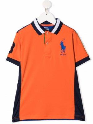 Рубашка поло в стиле колор-блок с логотипом Polo Ralph Lauren Kids. Цвет: оранжевый