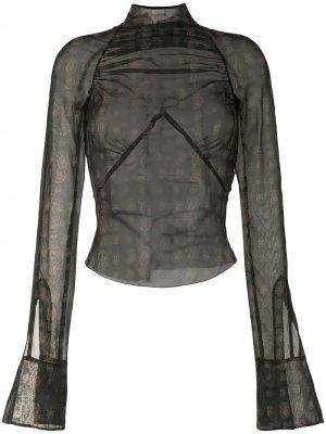 Блузка Serpent со сборками KNWLS. Цвет: черный