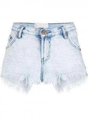 Джинсовые шорты Florence с бахромой One Teaspoon. Цвет: синий