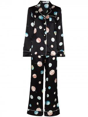 Пижама Lila Selene с принтом Olivia von Halle. Цвет: черный