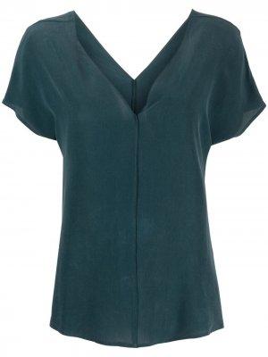 Блузка с V-образным вырезом Alysi. Цвет: синий