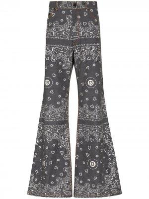 Широкие джинсы с принтом DUOltd. Цвет: черный