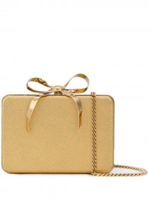Клатч жесткой формы в виде подарка Oscar de la Renta. Цвет: золотистый