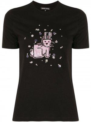 Футболка Bunny с пайетками и кристаллами Markus Lupfer. Цвет: черный