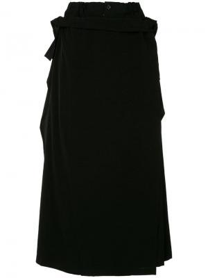 Укороченные брюки со съемной отделкой Yohji Yamamoto. Цвет: черный