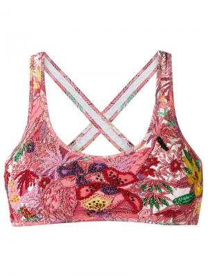 Верх бикини с вышивкой Amir Slama. Цвет: розовый