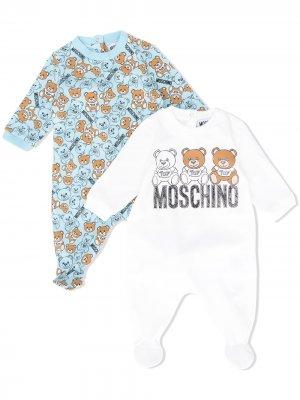 Комплект из двух комбинезонов с принтом Moschino Kids. Цвет: белый