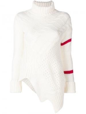 Расклешенный трикотажный свитер Preen Line. Цвет: белый