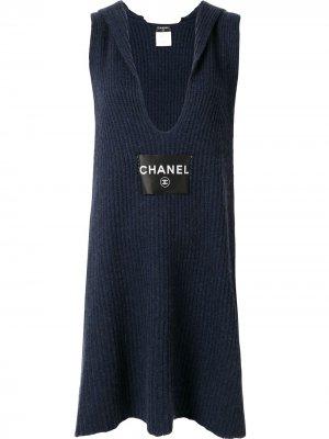 Вязаное платье Chanel Pre-Owned. Цвет: синий
