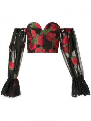 Топ-корсет с открытыми плечами Bambah. Цвет: черный