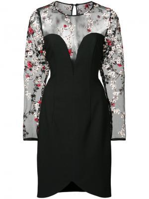 Платье с цветочной вышивкой и прозрачными панелями Black Halo. Цвет: чёрный