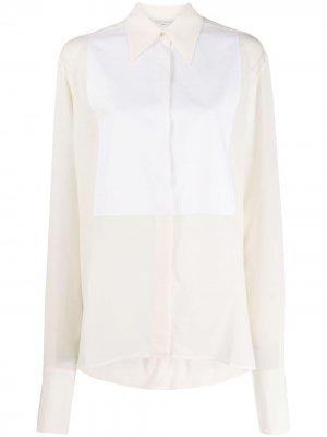 Блузка с контрастным нагрудником Victoria Beckham. Цвет: нейтральные цвета