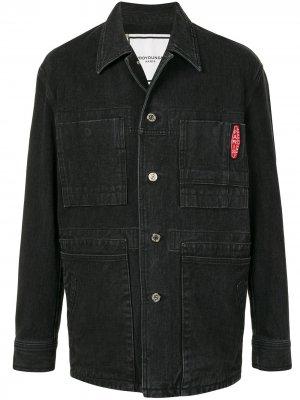 Однобортная джинсовая куртка Wooyoungmi. Цвет: черный