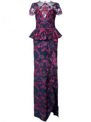 Платье макси с цветочной вышивкой Marchesa Notte. Цвет: синий