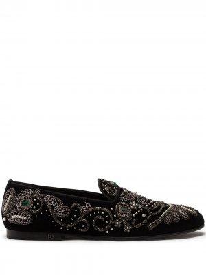 Слиперы с вышивкой бисером Dolce & Gabbana. Цвет: черный