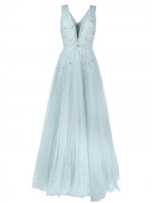 Платье из тюля с глубоким вырезом и бусинами Jenny Packham. Цвет: синий