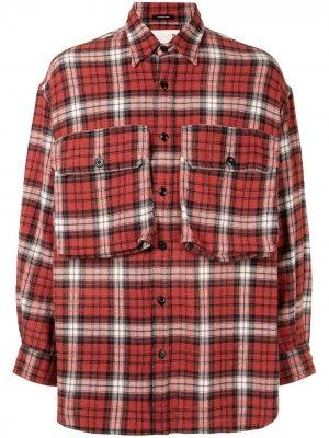 Клетчатая рубашка оверсайз R13. Цвет: красный