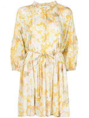 Платье мини Laguna с цветочным принтом Apiece Apart. Цвет: желтый