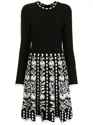 Жаккардовое платье с цветочным узором Lela Rose. Цвет: черный