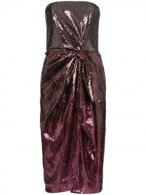 Платье Kylie без бретелей с пайетками Mary Katrantzou. Цвет: красный