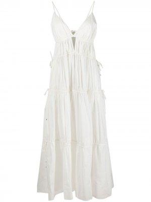Расклешенное платье макси Jonathan Simkhai. Цвет: белый