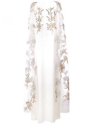 Embroidered flower dress Marchesa Notte. Цвет: белый