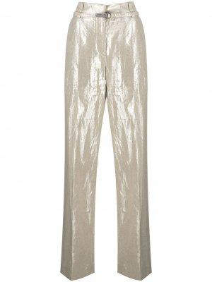 Прямые брюки с завышенной талией Brunello Cucinelli. Цвет: золотистый
