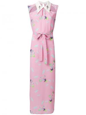Платье-рубашка с рисунком из стрекоз и растений Vivetta. Цвет: розовый