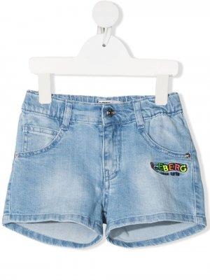 Джинсовые шорты с вышитым логотипом Iceberg Kids. Цвет: синий