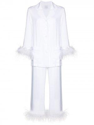 Пижама с перьями Sleeper. Цвет: белый
